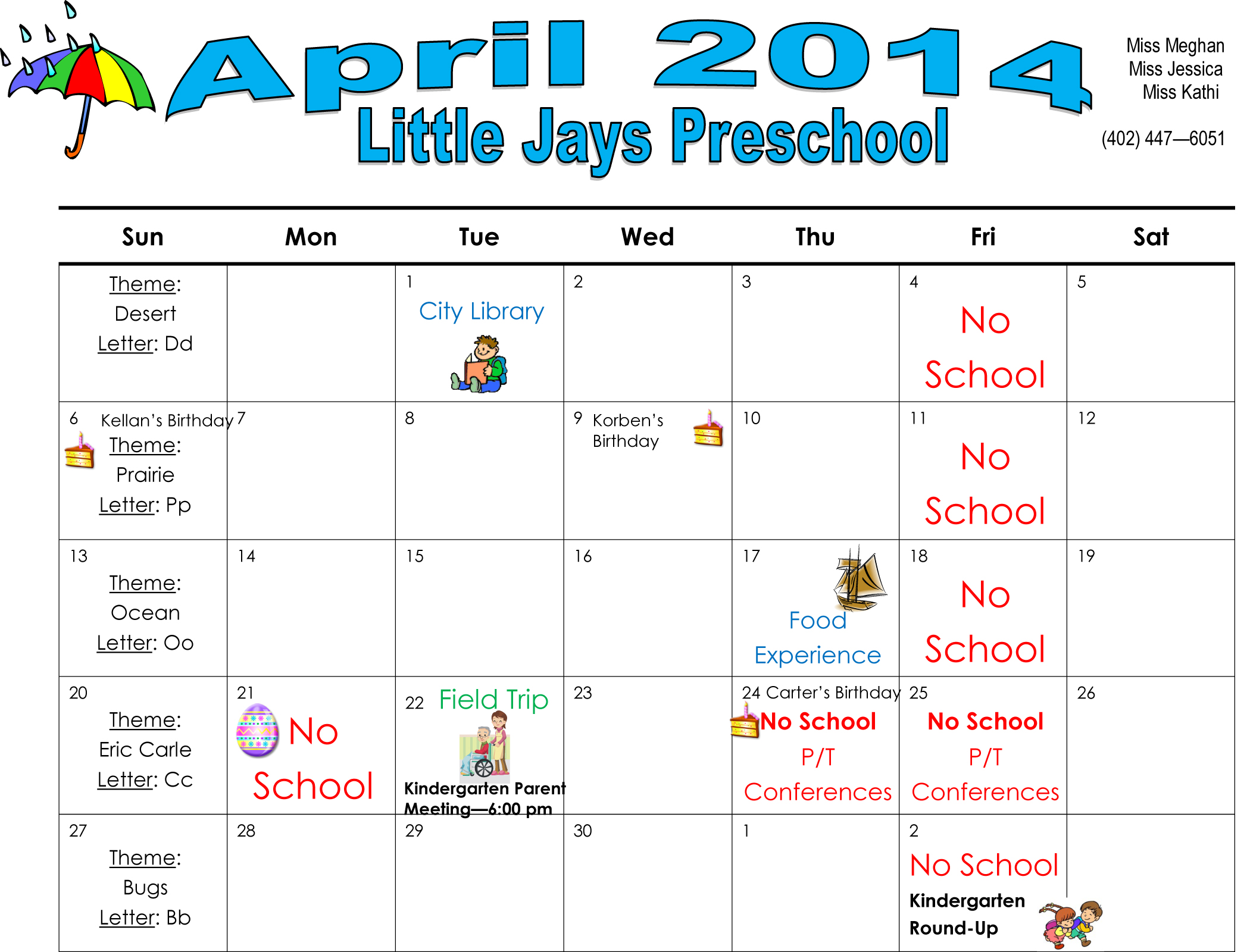 April Calendar S Kindergarten : Newman grove preschool calendar